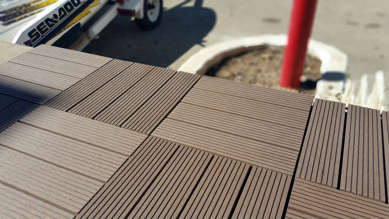 4 Slat Wood-Plastic Composite Interlocking Decking Tile - (Dark Brown Finish - Set of 11 Tiles)