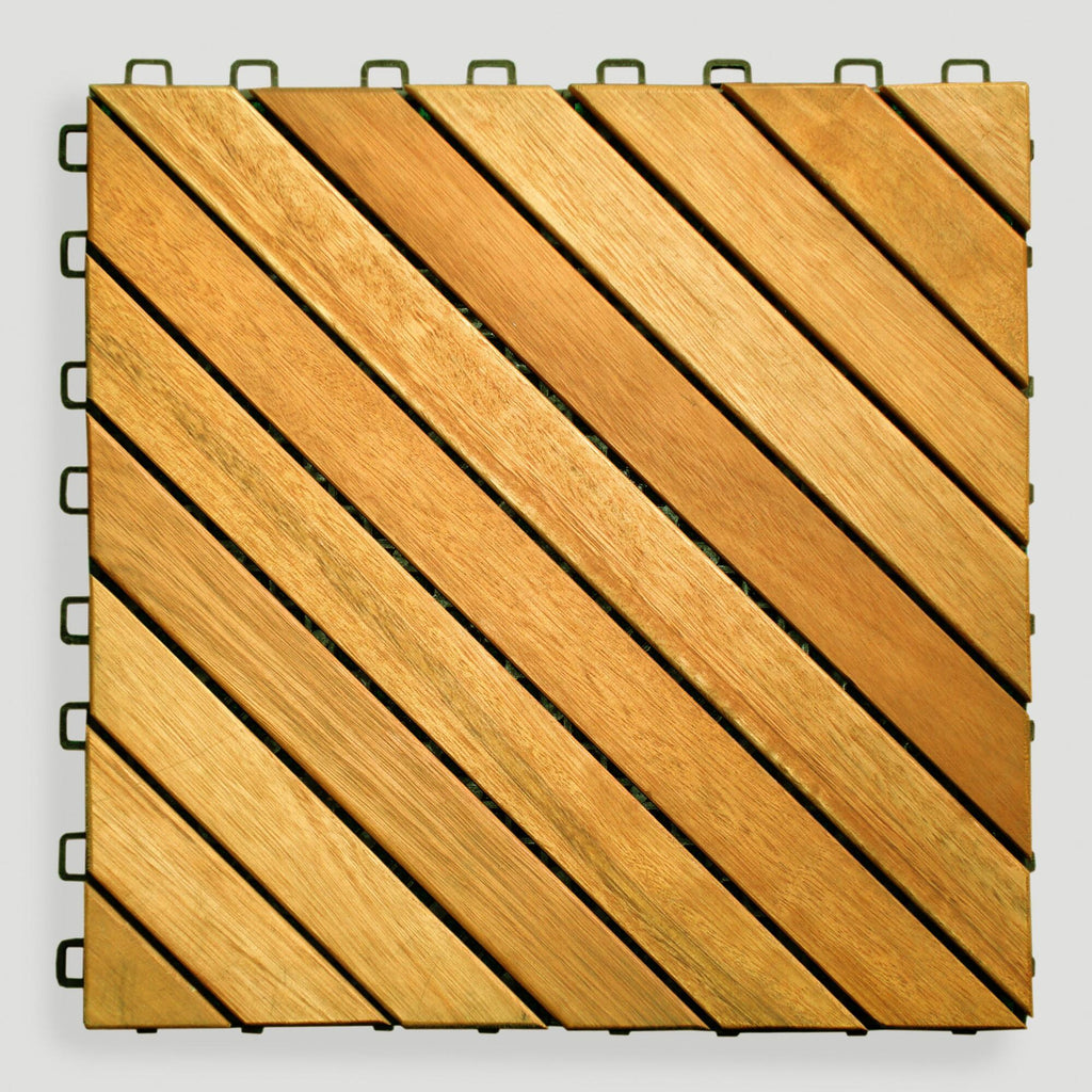 12-Slat Acacia Interlocking Deck Tiles (set of 10), Interlocking Deck Tile, Natural Deck Tiles, [shop_ Direct Lighting Outdoor Lifestyle]