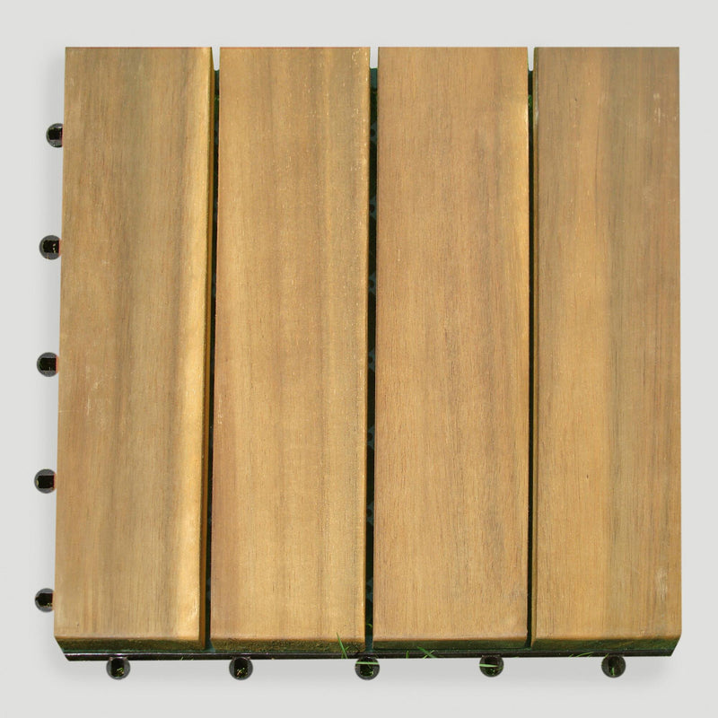 4-Slat Teak Finish Interlocking Deck Tiles (set of 10), Interlocking Deck Tile, Natural Deck Tiles, [shop_ Direct Lighting Outdoor Lifestyle]