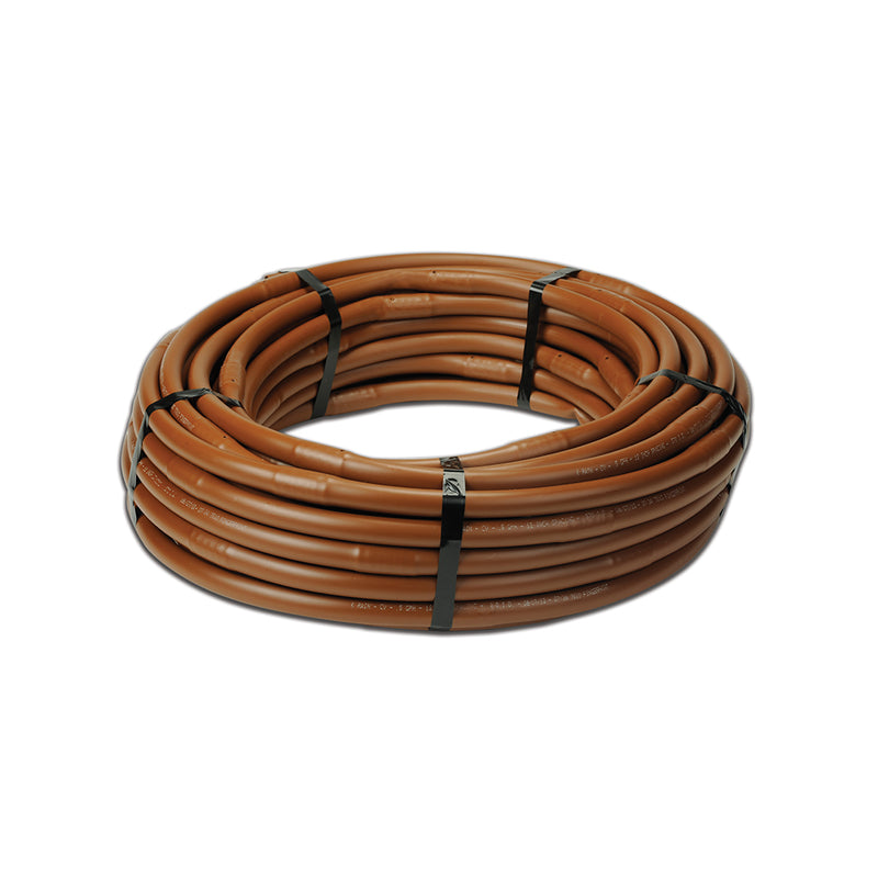 "17mm .58 GPH, 100' CV Drip Line Coil with 12"" Spacing, Brown (.570 OD x .670 ID)"