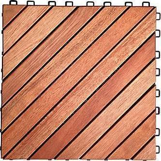 12-Slat Eucalyptus Interlocking Deck Tiles (set of 10), Interlocking Deck Tile, Natural Deck Tiles, [shop_ Direct Lighting Outdoor Lifestyle]
