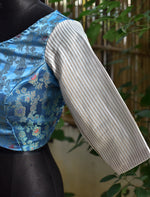 Silver Brocade Blouse ~ Blue & White ~ 1