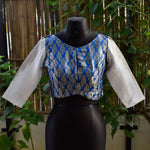 Silver Brocade Blouse ~ Blue & White ~ 2