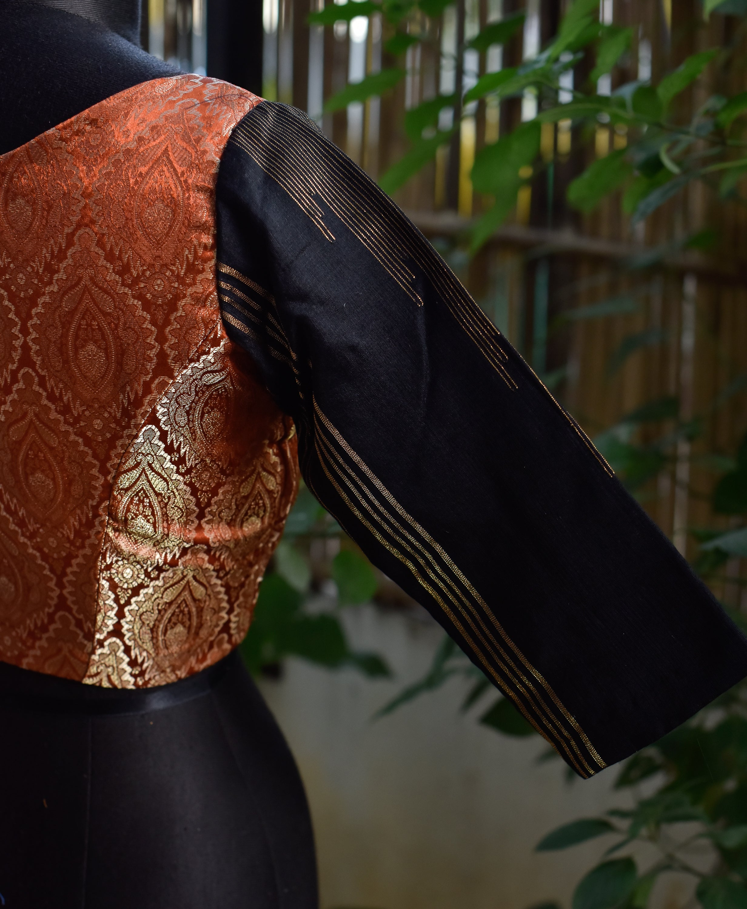 Brocade Blouse ~ Bronze & Black