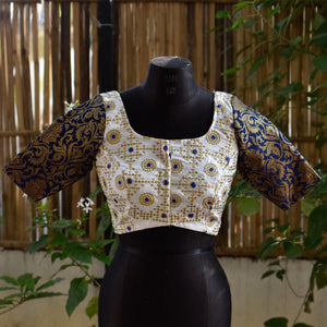 Brocade Blouse ~ White & Blue