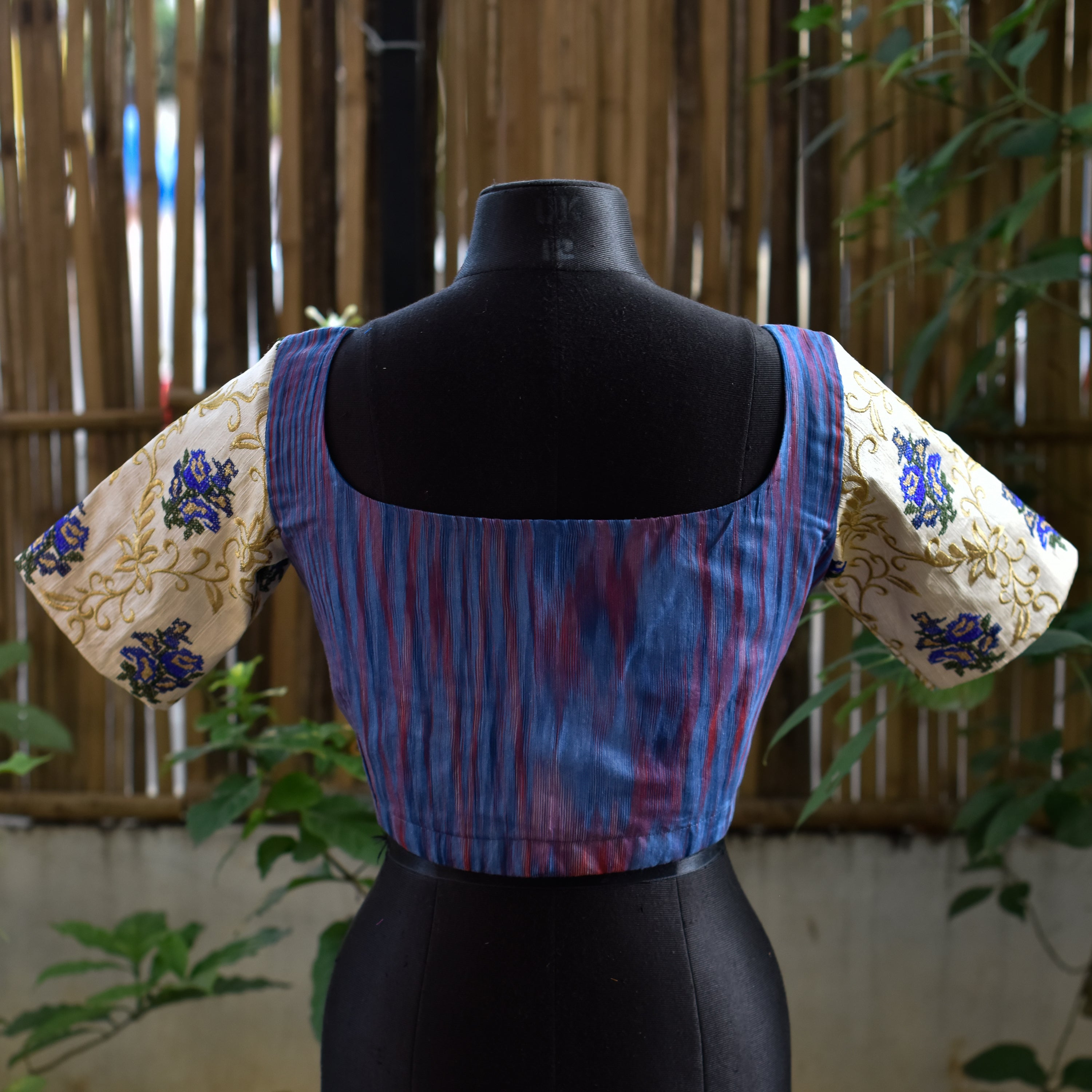 Brocade Blouse ~ Purple & White ~ 2