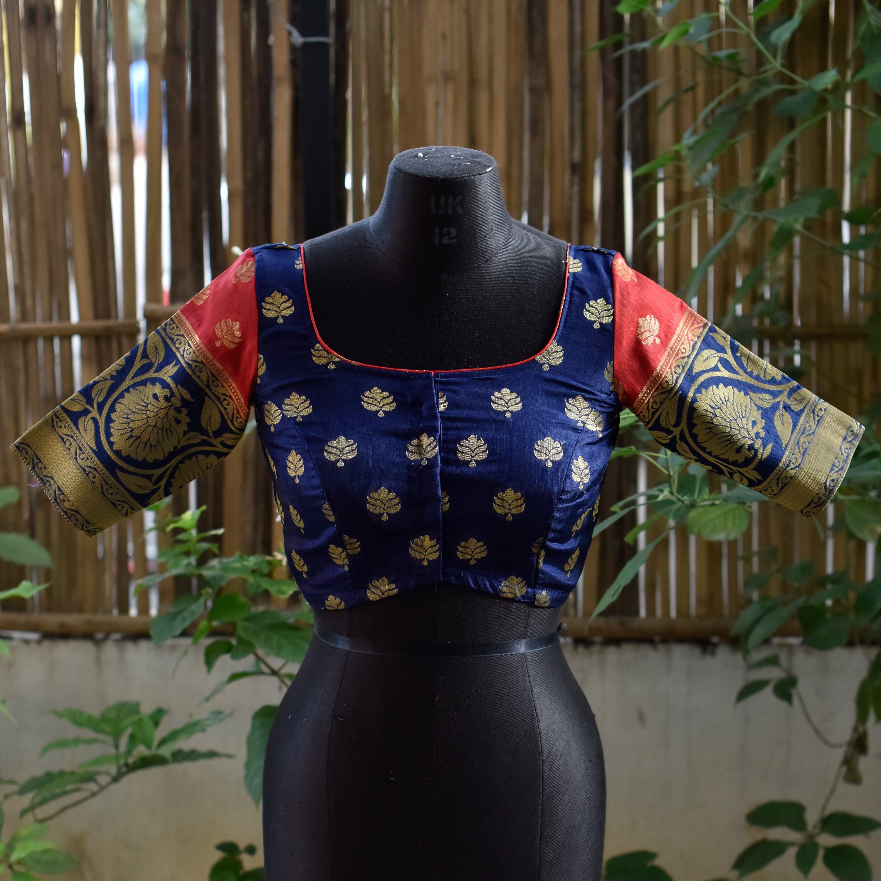 Brocade Blouse ~ Blue & Red ~ 2