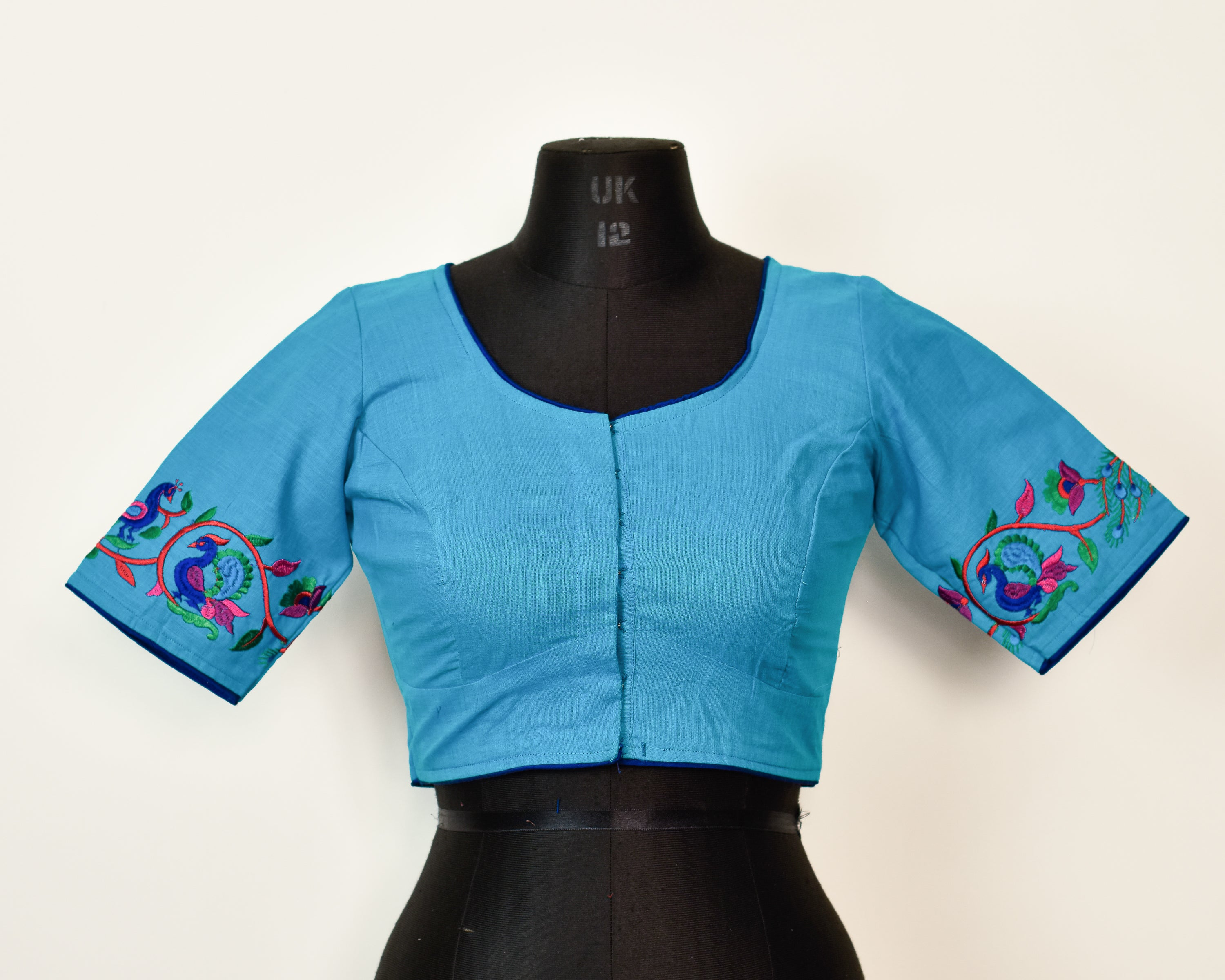 Blue Cotton Embroidered Blouse