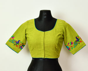 Parrot Green Cotton Embroidered Blouse