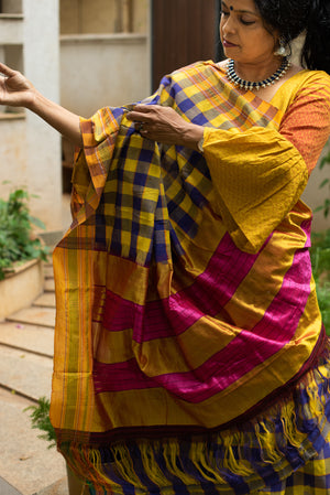 Saree Blouse Combo _ Purple & Yellow