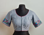 Grey Cotton Embroidered Blouse