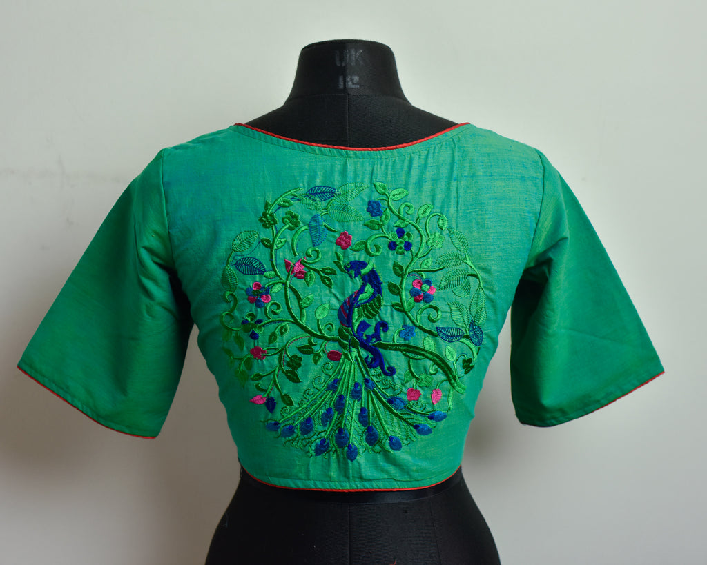 Teal Cotton Embroidered Blouse