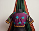 FOREST GREEN AND MAGENTA LOTUS KHUN BLOUSE