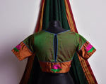 GREEN AND BRONZE LOTUS KHUN BLOUSE