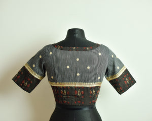 Grey Cotton Mirror Work Blouse