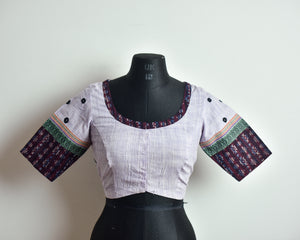 Lilac Cotton Mirror Work Blouse