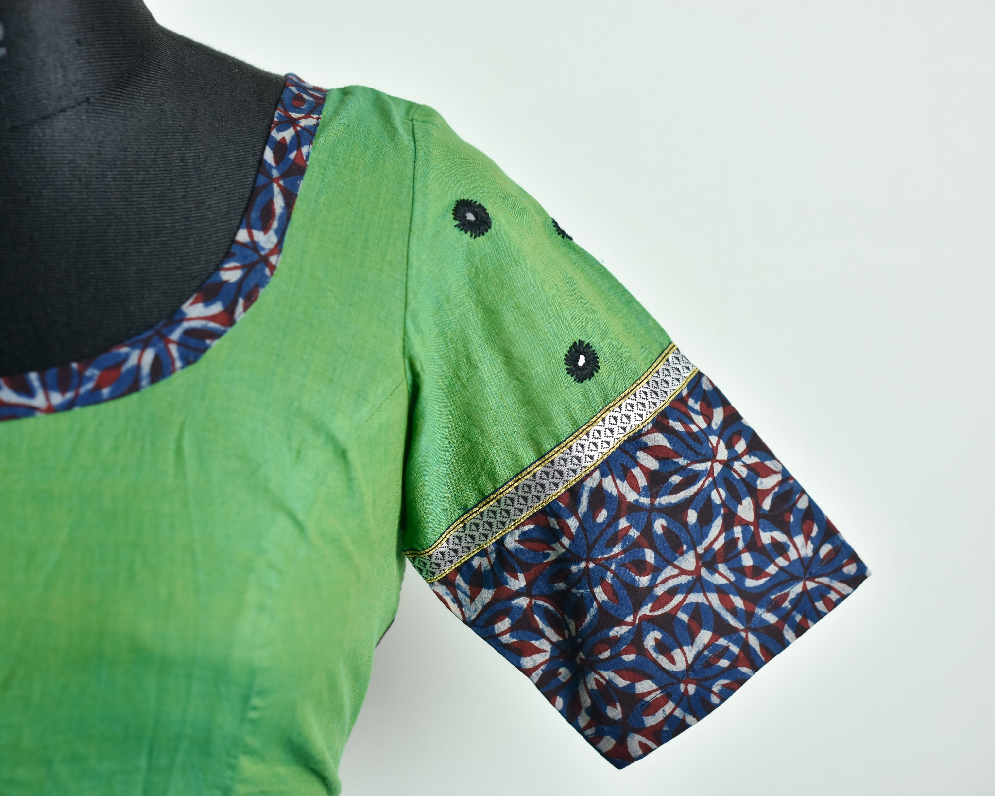 Green Cotton Mirror Work Blouse