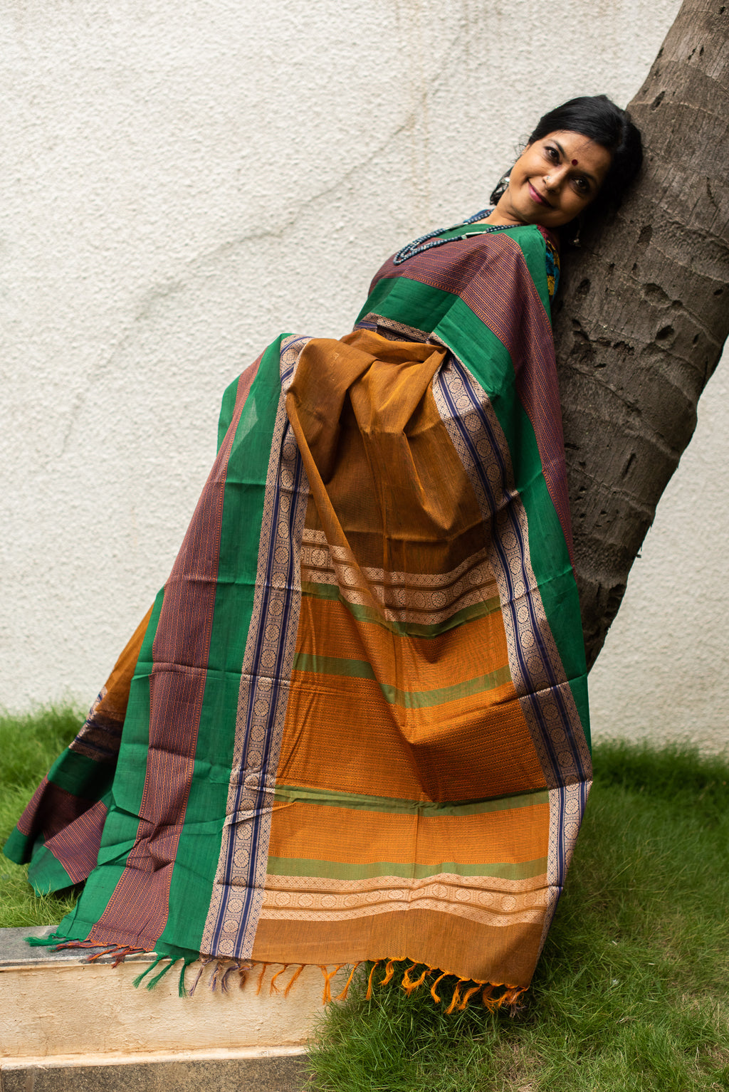 Ochre & Multi-colour handloom