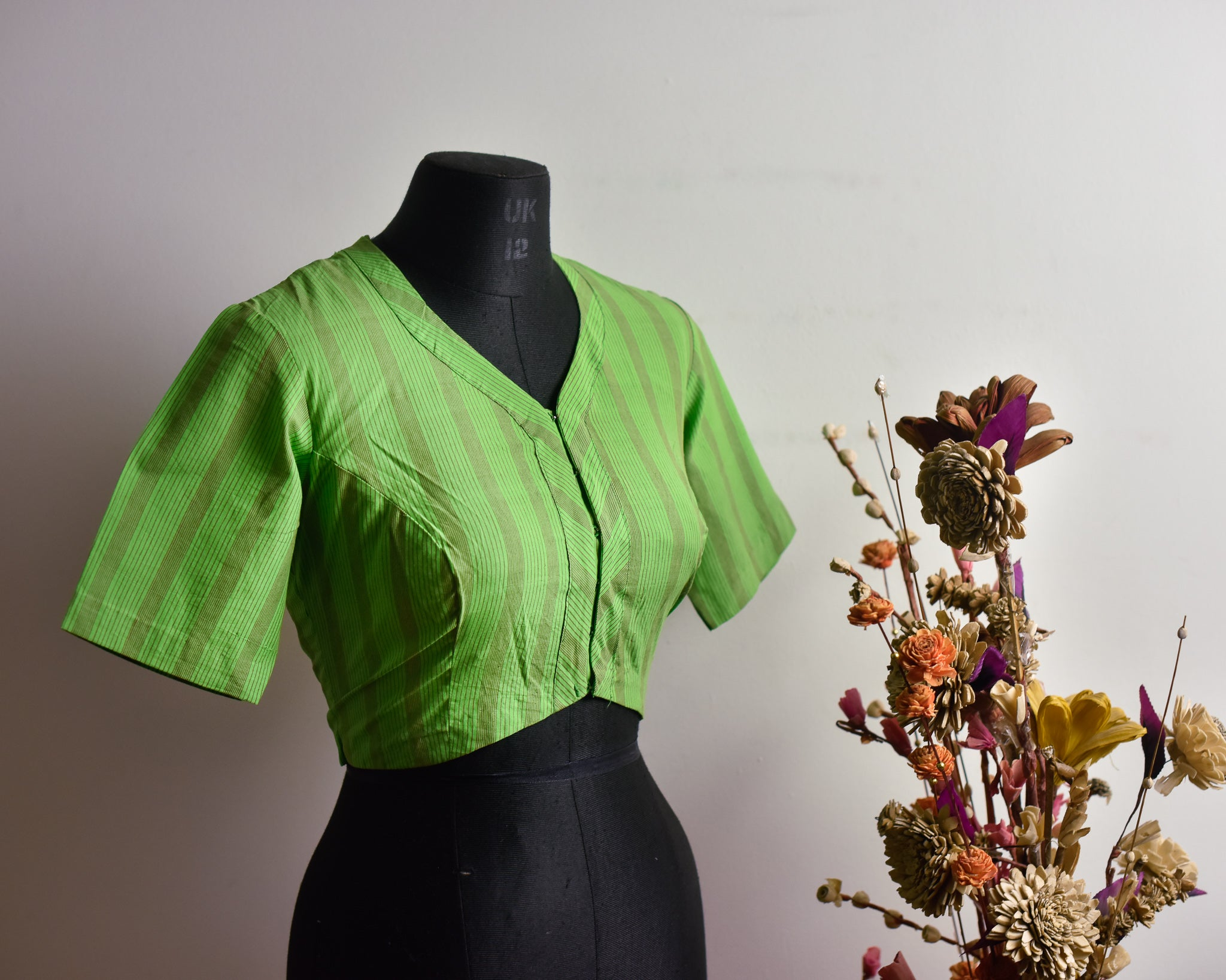 Green Cotton Striped Rekha Neck Blouse