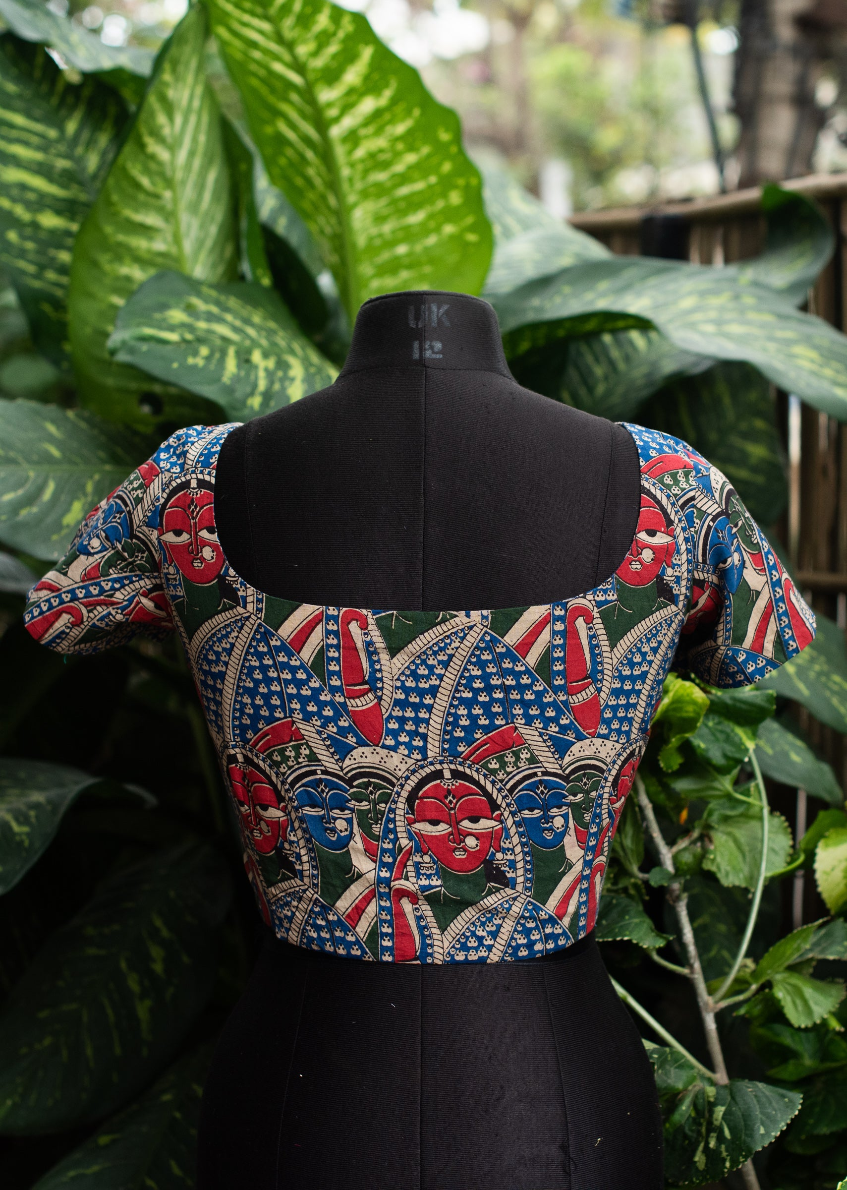 Kalamkari Blouse - Red, Blue & Green
