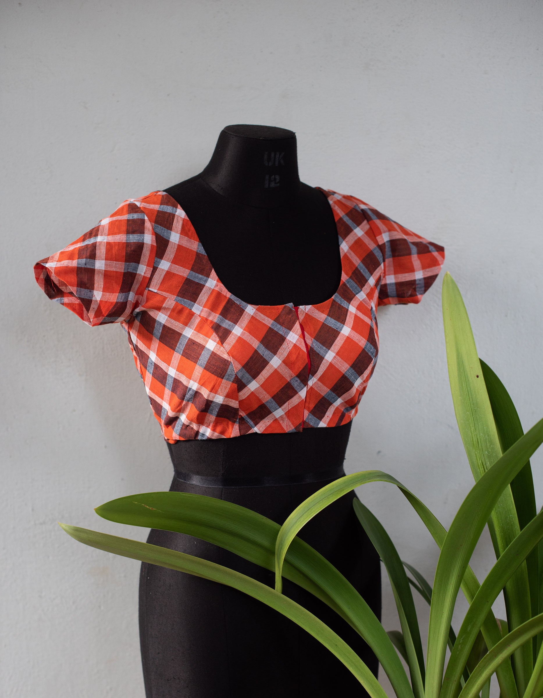 Orange Checkered Blouse  size 38-42