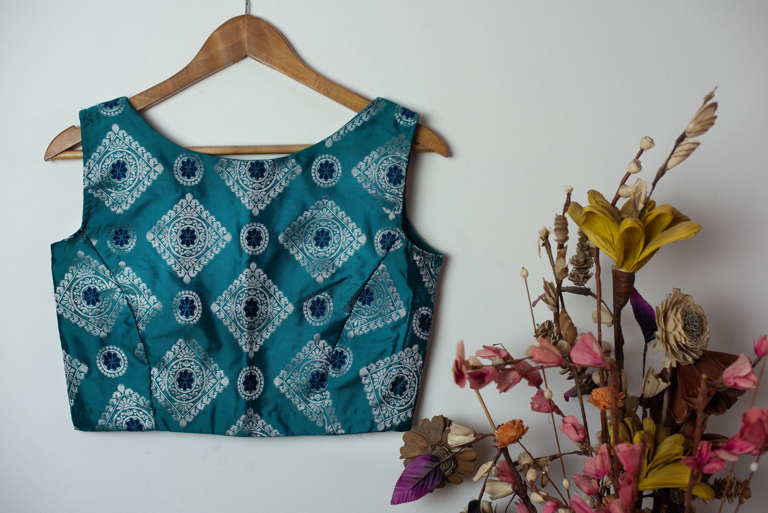 Brocade Blouse | Sleeveless ~ Teal ~ 2