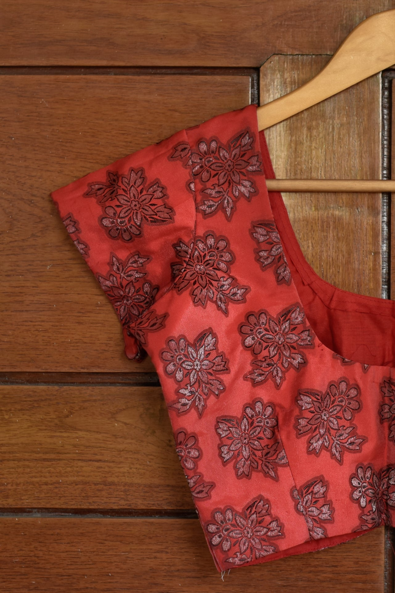 Red Brocade Blouse
