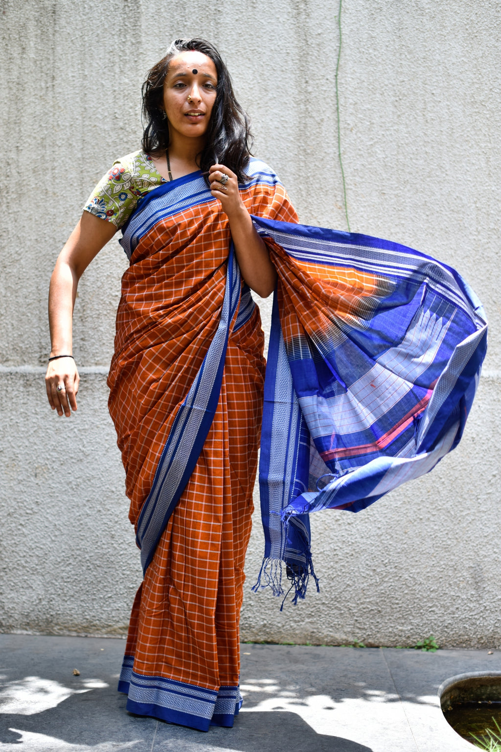 Saree Blouse Combo _ RUST & BLUE