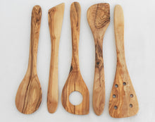 Set of 5 Olive Wood medium Utensils set : 1 Spoon, 1 Spatula, 2 sauce spoons, 1 pierced spatulas, Kitchen Cooking Utensils Tools