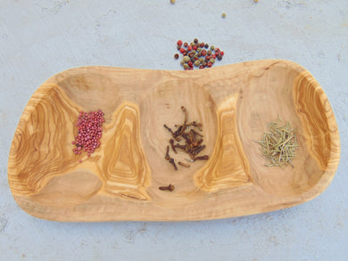 Olive Wood Rustic Bowl Tray Dish 11.2 X 5.5 X 1.2 Inch / Wooden Nuts Dried Fruits Serving Plate / Wedding Gift