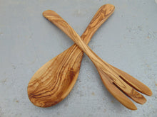 Olive Wood Utensil set : 1 Spoon, 1 Fork | Wooden Kitchen Cooking Serving Salad Mixing Set Utensils | Wedding gift