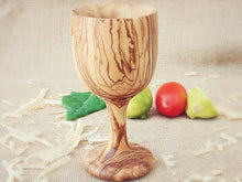 Olive Wood Classic Design Goblet Cup Mug, Wooden Communion Cup