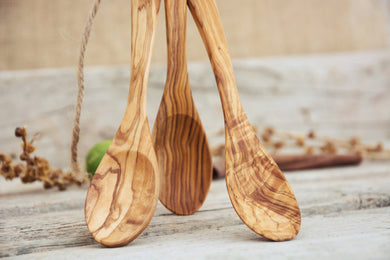 Wood 7-inch Eating Spoon Set / Three Olive Wood Small Kitchen Utensils set / Ice-cream Spoon