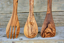 Olive Wood Utensil Set 12 Inch Length: 1 Spoon, 1 Spatula, 1 Slotted Spatula, Wedding gift