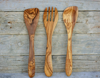 Hand-carved Unique Olive Wood Utensils : 1 Sauce Spoon, 1 Spatula, 1 Slotted Spatula,Wooden Kitchen Utensil Set
