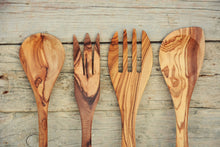 Rustic & Unique Olive Wood Utensils 12-Inch long, Cooking Serving Dining Kitchen Spoons, Wedding gift