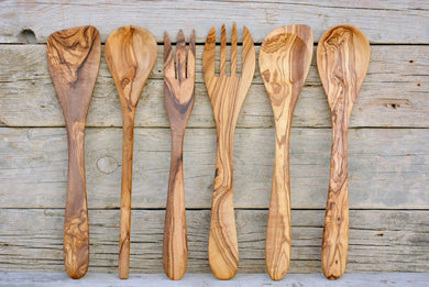 Unmatched & Unique Olive Wood Utensil Set of 6, Kitchen Cooking Dinning Serving 12 inch Utensils, Wedding gift