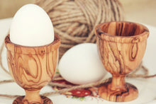 Olive Wood Egg Cup set, Handcarved wooden egg holder set, Handcrafted wood egg holders