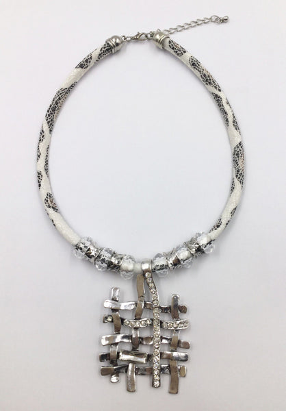Silver Plated Rhinestone Necklace