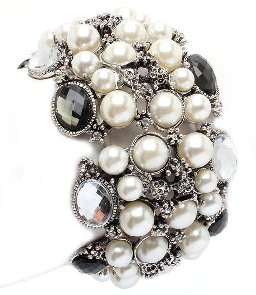 Silver Plated Imitation Pearl Crystal Stretch Bracelet