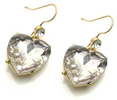 Gold Plated Heart Crystal Earrings