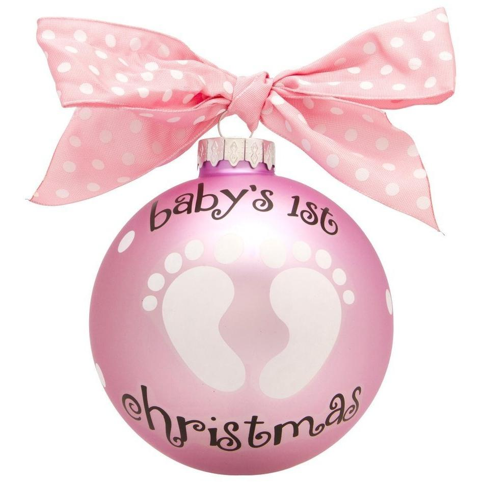 Baby Girl Feet Glass Ball Christmas Ornament