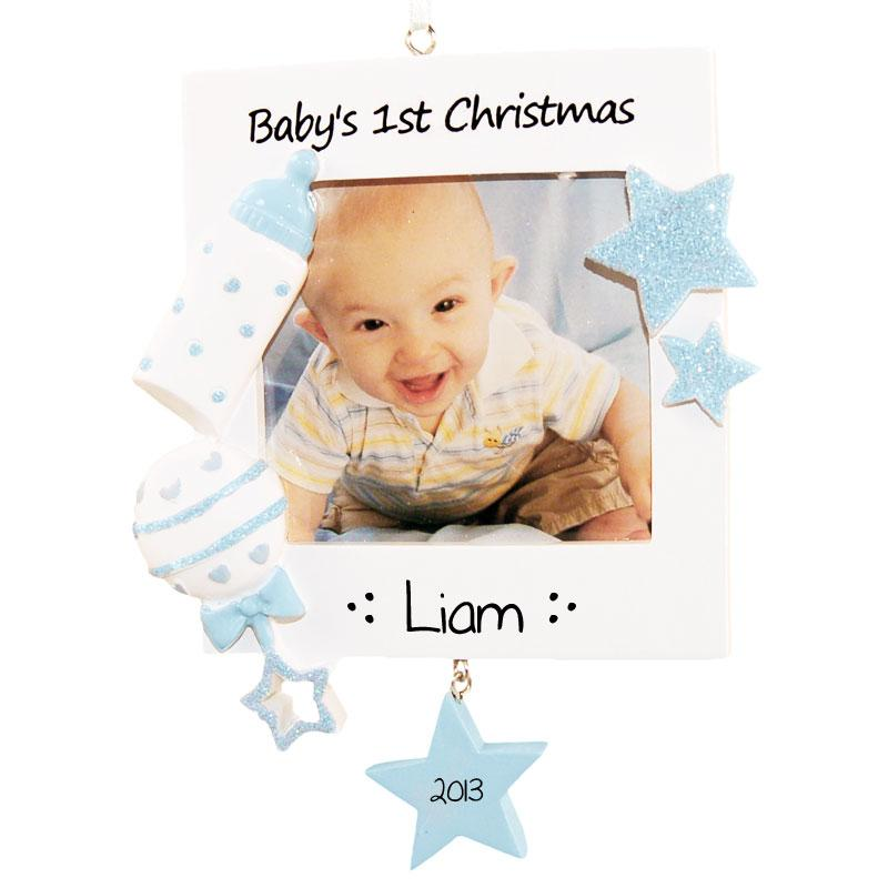 Baby\'s First Christmas Ornament, Blue Photo Frame | Lovable Ornaments