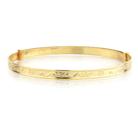 9ct. Gold 3mm Patterned Expandable Child's Bangle