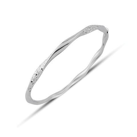 9ct. White Gold Twisted Bangle