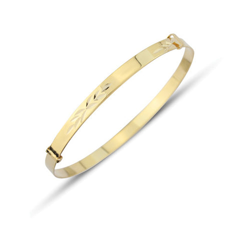 9ct. Gold 3mm Patterned Expandable Baby's Bangle