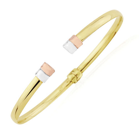 9ct. White, Rose and Yellow Gold Contemporary Torque Bangle