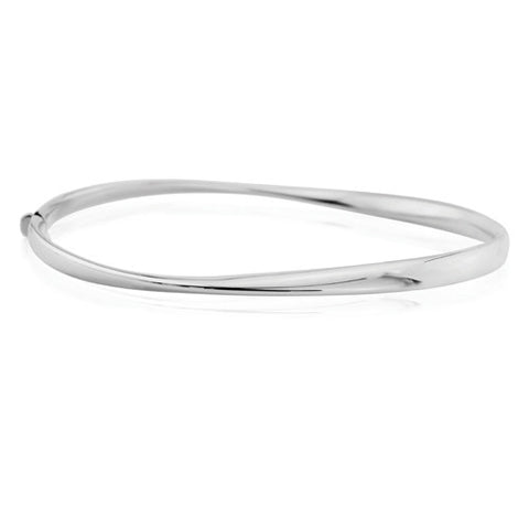 9ct. White Gold Polished Twist Bangle