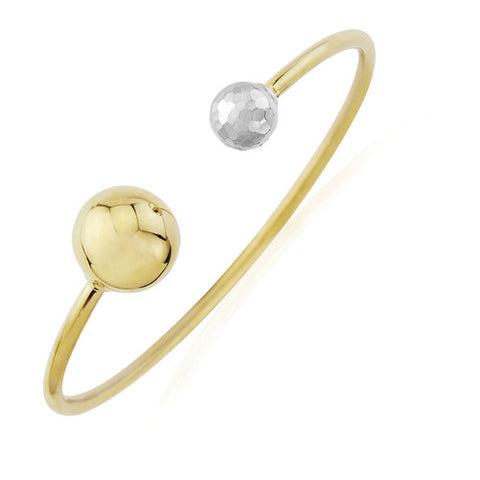 9ct. White and Yellow Gold Torque Bangle