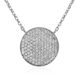"9ct. White Gold Pave set CZ Necklace 17""/43cm"